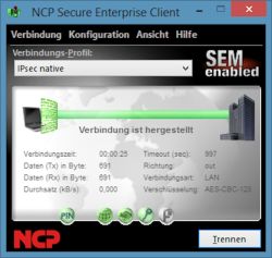 Bild: Screenshot des Secure Enterprise VPN Clients.
