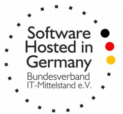 Bildunterschrift: Software Hosted Made in Germany.