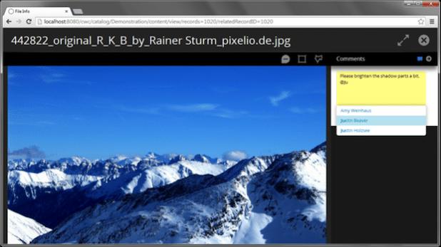 Bild: Benutzer können Kollegen einfach über die @Funktion benachrichtigen.