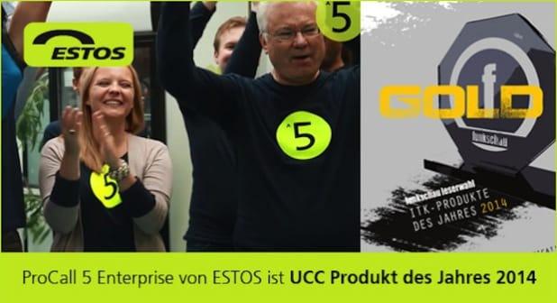 Bild: ProCall 5 Enterprise von ESTOS ist UCC Produkt des Jahres 2014.