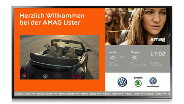 Bild.: screen2go - Begrüßungs- und Informationsscreen für AMAG Uster.