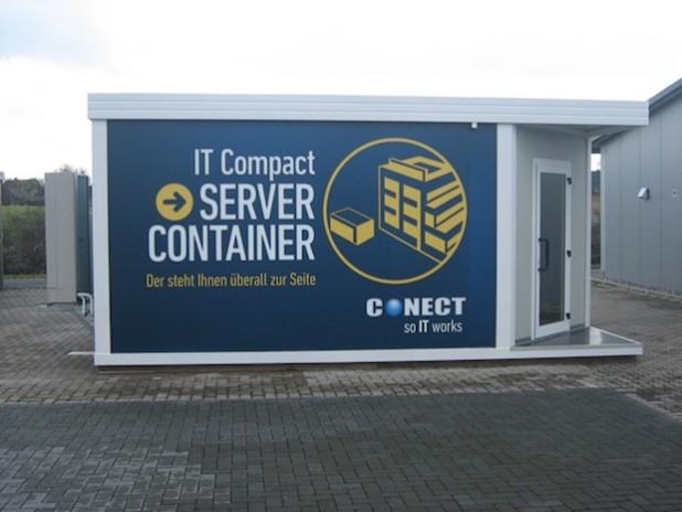 Bild: IT Compact Server Container von Conect – Außenansicht. Quelle: © 2015 Conect Kommunikationssysteme GmbH.